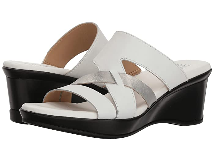 70s Shoes, Platforms, Boots, Heels Naturalizer Vivy White Leather Metallic Womens Sandals $62.99 AT vintagedancer.com