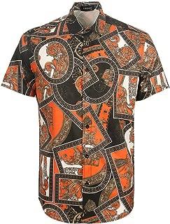 Men's Luxury Design Print Shirts Slim Fit Stylish Short Sleeve Button Down Casual Shirt