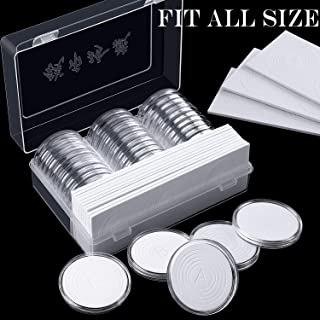 46 mm Coin Capsules Holder and Protect Gasket Coin Holder Case with Plastic Storage Organizer Box for Coin Collection Supplies (26 Sizes, 30 Pieces)