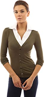 PattyBoutik Women's Shirt Collar Pleated 2 in 1 Top