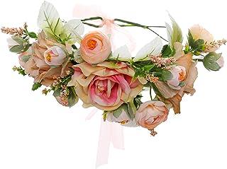 HAIMEIKANG Adjustable Flower Crown Headband - Flower Headband for Women Girl Floral Festival Wedding Party Wreath (One siz...