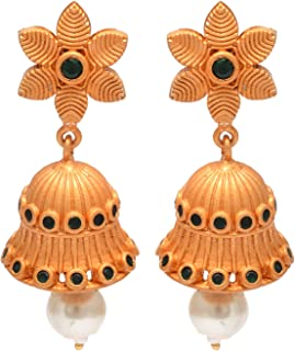 18 K Gold Plated Earrings Jhumka Jhumki Pearl South Indian Ethnic Women Traditional Jewelry(1.75 inches)
