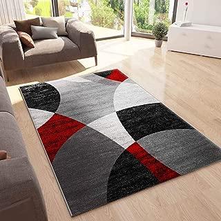 VIMODA Alfombra para Dormitorio y salón Jaspeada, de diseño, con Dibujo geométrico en Rojo, Gris, Blanco y Negro - Material Certificado según ÖKO Tex, Maße:120x170 cm