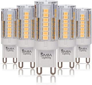 Simba Lighting G9 LED Light Bulb (5 Pack) 4W T4 40W Halogen Replacement for Pendants, Ceiling Lights, Desk Lamp, Wall Sconce, 120V JCD Bi-Pin Base Non-Dimmable, 3000K Soft White