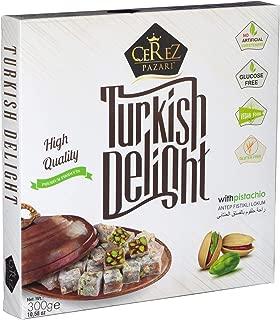 Turkish Delight with Amazing Turkish Pistachio Luxury %100 Hand Made Lokum Candy Dessert Gourmet Box (Approx.35 Pcs) 10.5 Oz