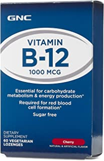 GNC Vitamin B-12 1000mcg, 60 Lozenges, Supports Carbohydrate Metabolism and Energy Production