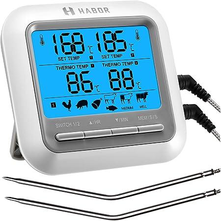 Habor Bbq Thermometer Digitales Kochen Fleisch Thermometer Dual Sonde Mit Großer Lcd Hintergrundbeleuchtung Timer Modus Für Ofen Grill Truthahn Rind Süßigkeiten Milch Wasser Gewerbe Industrie Wissenschaft