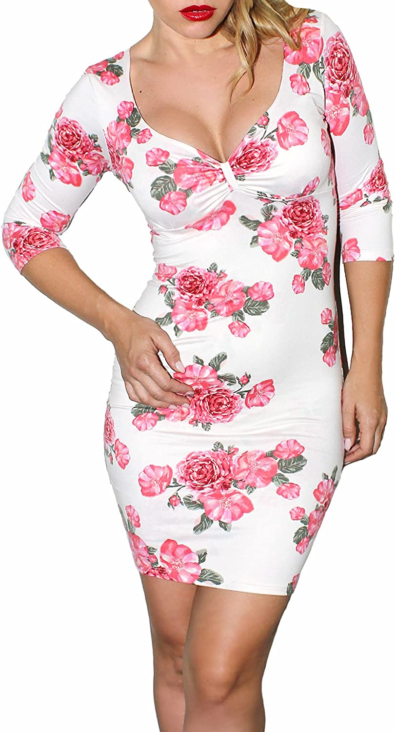 Demi Loon Floral & Pink Pinup Dress   Casual Long Sleeve Dress