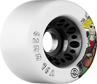 RollerBones Speed/Derby Nylon Day of The Dead 96a 4 Pack Roller Skate Wheels - White - 62mm