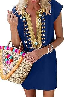 LOSRLY Women Summer V Neck Short Sleeve Boho Embroidered Dress Casual Ethnic Style Mini Dress S-XL