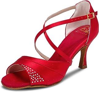 JIA JIA 20522 Latina Sandalias De Mujer 2.7 ''Talón Acampanado Super Satinado Zapatos de Baile