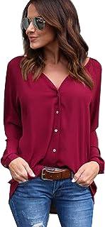 Yidarton Womens Chiffon Shirts Long Sleeve Casual Plus Size Blouse Tops