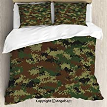 AngelSept Bedding 3-Piece Set,Grunge Graphic Camouflage Summer Theme Armed Forces Uniform Inspired Dark,Queen Size,1 Quilt Cover 2 Pillow Shams,Green Pale Green Brown