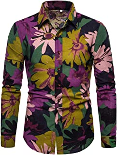 Shirts for Men, Men's Summer Fashion Business Leisure Printing Long-Sleeved Shirt Top Blouse