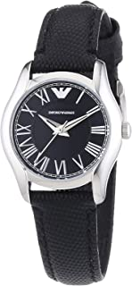 Emporio Armani AR1712 Women's Quartz Analogue Watch-Black Leather Strap