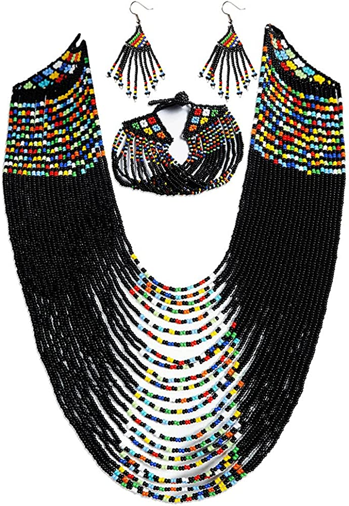 WLFA, African Handmade Beaded Jewelry Gift Set, Traditional Ndebele design, Statement Pieces