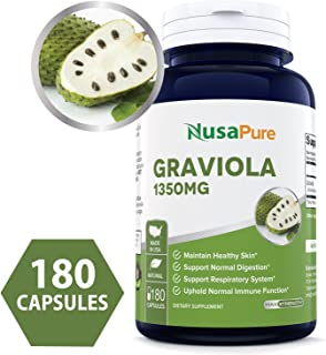 Graviola 1350mg 180caps (Non-GMO, Gluten Free) Soursop Supplement - Healthy Skin & Helps Promotes Cell Growth, Respiratory System, Balanced Mood