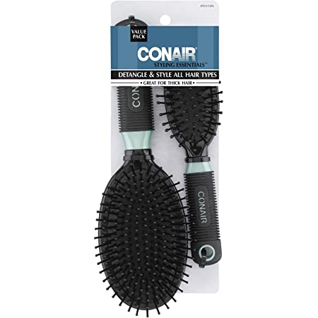 Conair Professional Full & Mid Size Nylon Cushion Brush Set Colors May Vary
