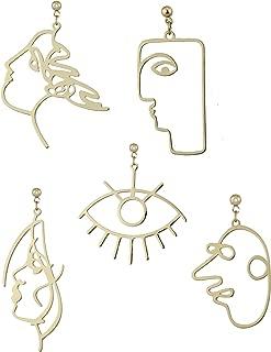 5 Pairs Modern Abstract Art Face Earrings Set Geometric Human Face Fashion Design Dangle Earrings