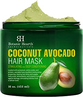 Botanic Hearth Coconut Avocado Hair Mask for Hair Growth, Deep Conditioner with Antioxidants and Vitamin E, Intense Moisturizing, Stimulating, for all Hair Types - 16 oz