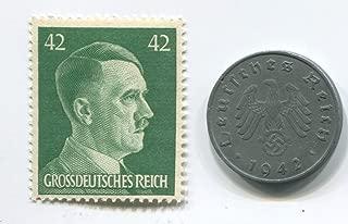 Rare Nazi Swastika 10 Reichspfennig German Coin World War Two WW2 with Jumbo Green Hitler Head Stamp MNH
