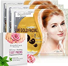 Exfoliating Nourishing Foot Mask - Foot Peel Mask Includes 4 Pairs Of Scented Peppermint & Rose Foot Gloves Peels off Callus - Dead Skin BONUS 3 Pack Of 24K Gold Collagen Gel Masks Sheets