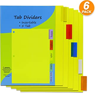 Emraw Three-Ring Binder Index Dividers 5 Tab Multicolor Insertable Binder Dividers Durable Reinforced 3 Hole Punch Section Big Tab Reusable Plastic Writing Dividers Pack of 6