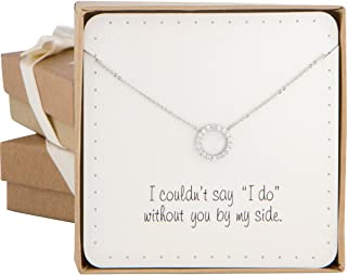 BRIDE DAZZLE Bridesmaid Gift - Dainty Open Circle Cubic Zirconia Necklace (Silver Color)