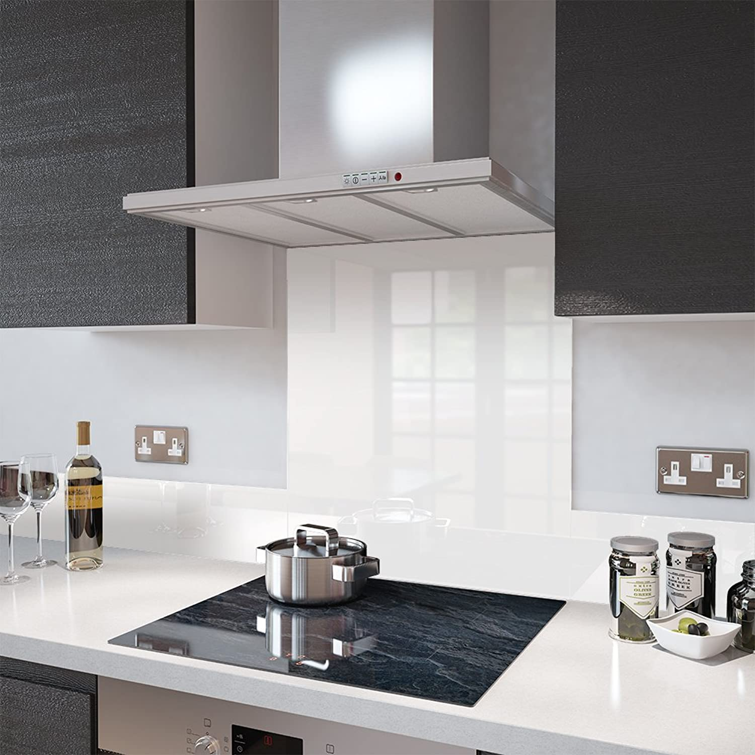 High Gloss White Toughened Glass Splashbacks and Upstands - by Premier Range in 80cm Wide x 60cm High with Fixing Holes