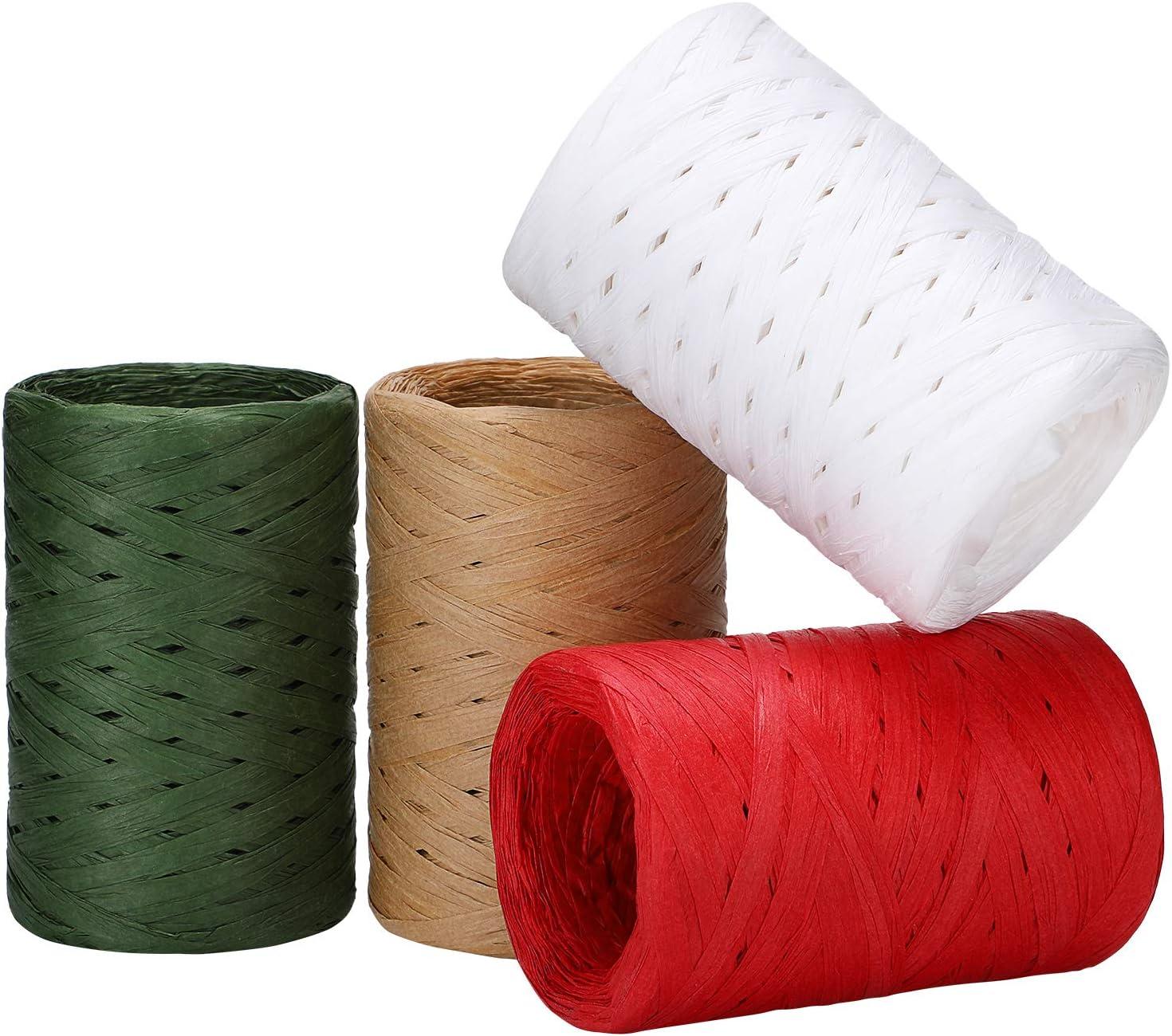 4 Rolls Christmas Raffia Ribbon Ch Paper Max 76% Max 67% OFF OFF 1200 Feet
