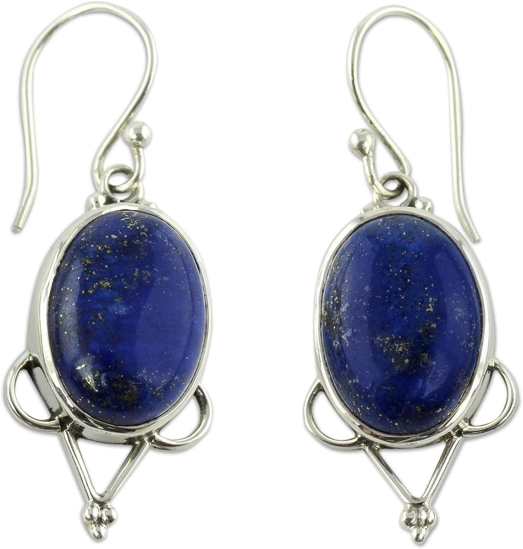 NOVICA Lapis Lazuli .925 Manufacturer OFFicial Outstanding shop Sterling Earrings Silver Dangle 'Midnig