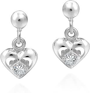 Tiny Heart Cubic Zirconia .925 Sterling Silver Post Drop Dangle Earrings