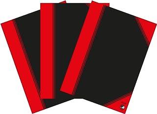 Bantex Notizbuch A5, blanko, 96 Blatt, 3er Pack, Schwarz, 400153837