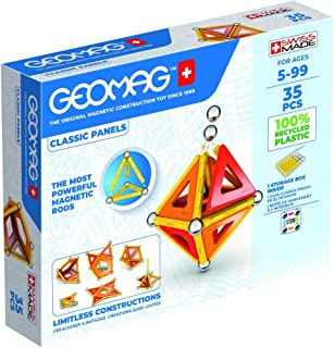 Geomag - Classic Panels 35 Pieces - Magnetic Construction for Children - Green Collection- 100% Recycled Plastic Education...