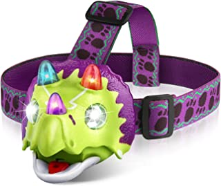 Triceratops LED Headlamp - Dinosaur Headlamp for Kids Camping Accessories, Dinosaur Toy Head Lamp Flashlight with 4 Mode L...