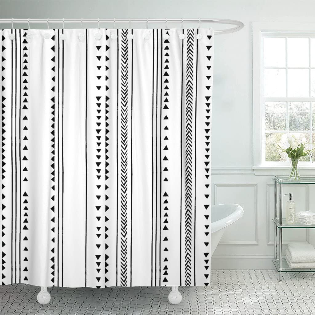 TOMPOP Shower Curtain Gray African Triangle Stripes Boho Bohemian Herringbone Pattern Monochromatic Black White Modern Geometric Bathroom Waterproof Polyester Fabric 72 x 72 Inches Set with Hooks