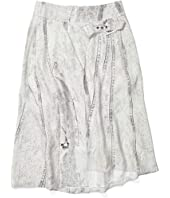 Seamed Denim Print Side Buckle Skirt