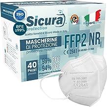 40 Mascherine FFP2 Certificate CE Made in Italy Bianche e logo SICURA impresso BFE ≥99% Mascherina ffp2 italiana SANIFICAT...