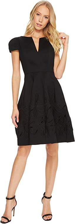 Halston Heritage - Short Sleeve Notch Neck Dress w/ Embellished Skirt