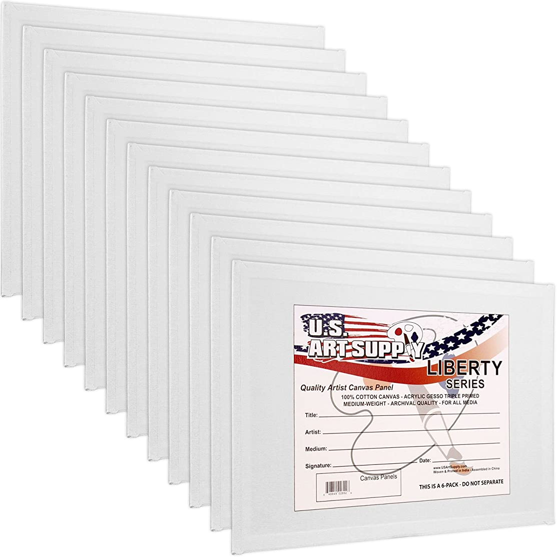 US Art Supply 16 X 20 inch Professional Artist Quality Acid Free Canvas Panel Boards for Painting 12-Pack (1 Full Case of 12 Single Canvas Board Panels)