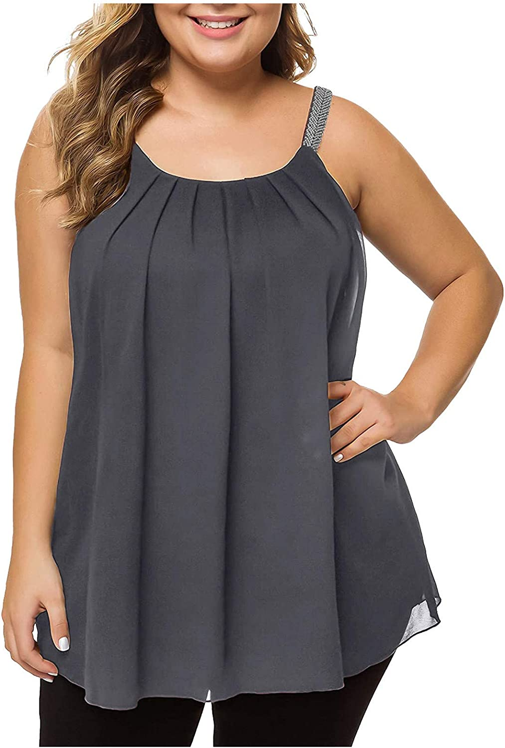 BEUU Women's Plus Size Cami Casual Loose Summer Sleeveless Pleated Flowy Camisole Chiffon Tank Top with Beaded Strap