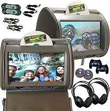 2X Autotain Hero-Y 9 inch Digital Touch Screen Car TV Headrest DVD Player Monitor Grey Gray