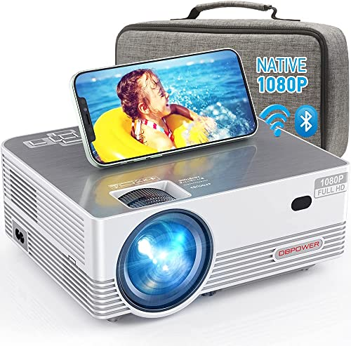 wholesale Native 1080P WiFi lowest Bluetooth Projector, DBPOWER 8000L Full HD Outdoor Movie Projector Support iOS/Android & Zoom, Home popular Theater Video Projector Compatible w/Laptop/PC/DVD/TV/PS4 w/Carrying Case Included outlet online sale