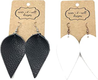 Leather Earrings Two Pairs Genuine Leather Earrings/Leaf Teardrop Bar Marquise Joanna Gaines Style/Many Colors and Styles/Diffuser Earrings Essential Oils