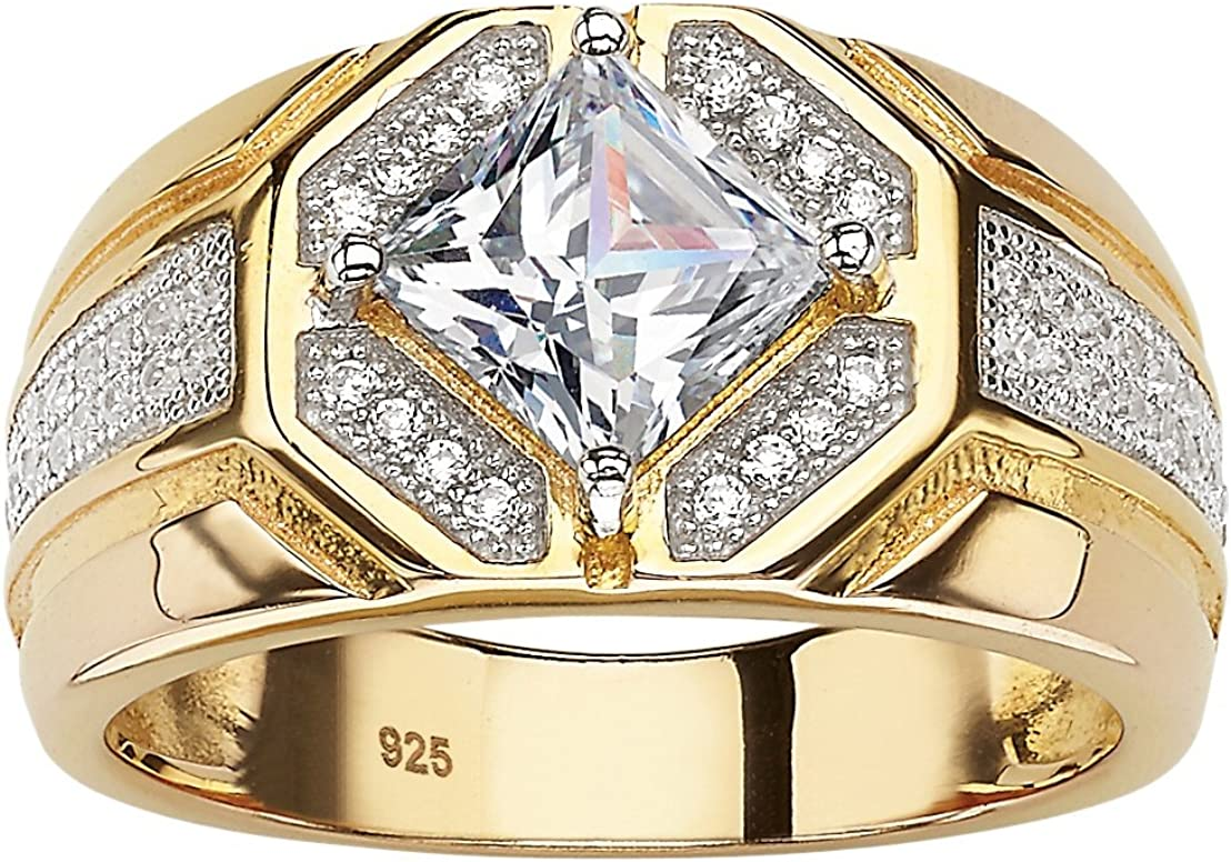 Dedication Men's 14K Yellow Max 79% OFF Gold over Sterling Zirc Square Silver Cut Cubic