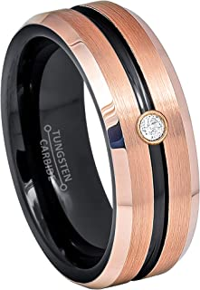 8MM Brushed Black & Rose Gold IP Grooved Center Tungsten Carbide Wedding Band - 0.07ct Diamond Tungsten Ring