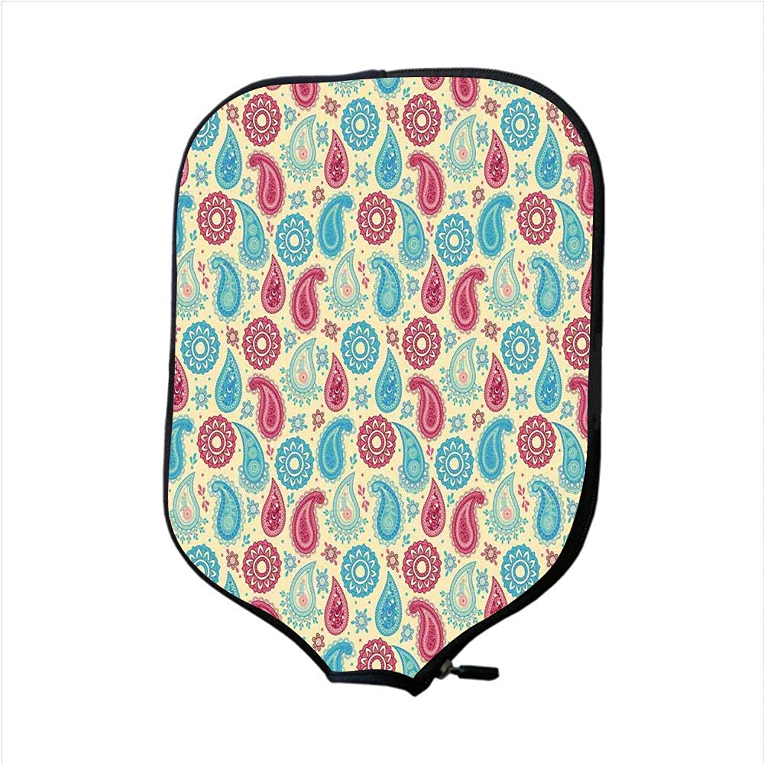 Fine Neoprene Pickleball Paddle Racket Cover Case,Paisley,Retro Style Paisley Patterns and Flowers Ethnic Design Home Decor Decorative,Turquoise Pink Cream,Fit for Most Rackets