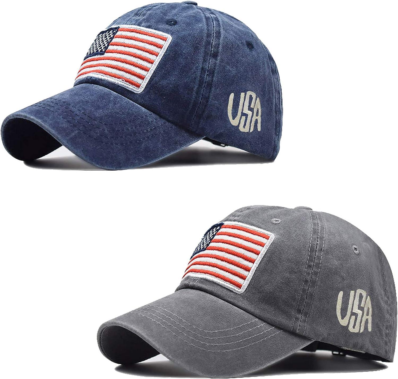 RNFENQS 2 Pack Men's American Flag Baseball Cap Adjustable Distressed USA Dad Hat