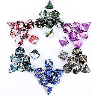 FLASHOWL Polyhedrale dobbelstenen set Tafelspellen Dobbelstenen 6 sets Dobbelstenen 6 x 7 Die Series D20, D12, D10, D8, D...