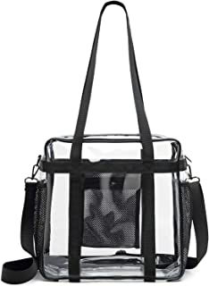 Heavy Duty Clear Bag Stadium Approved, NFL Clear Stadium Tote Bag 12X12X6 with Side Pockets Crossbody Messenger Shoulder Strap